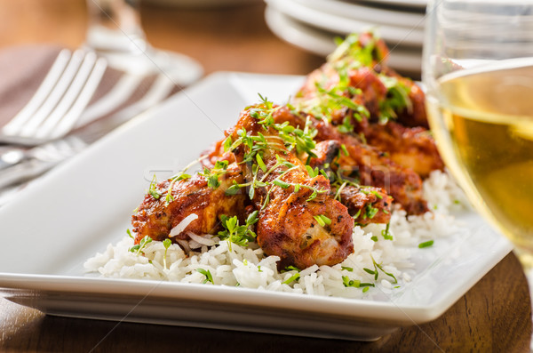 Hot wings with basmati rice Stock photo © Peteer