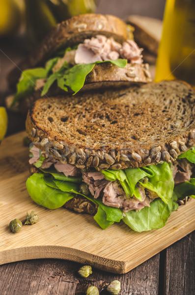 Atum sanduíche semente pão limão suco Foto stock © Peteer