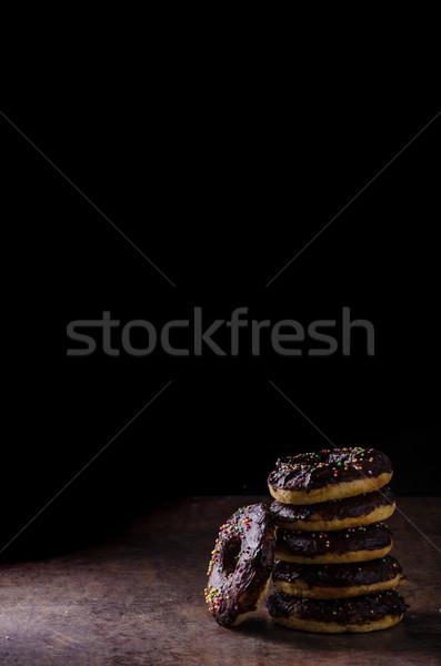 Eigengemaakt donuts twee suiker chocolade rustiek Stockfoto © Peteer