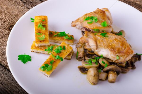 куриная грудка грибы трава продовольствие яйцо Сток-фото © Peteer