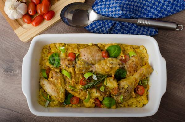 Stock fotó: Pörkölt · tyúk · curry · zöldségek · karfiol · paradicsomok