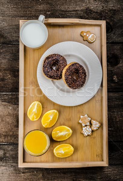 Ontbijt dienblad donut oranje melk christmas Stockfoto © Peteer