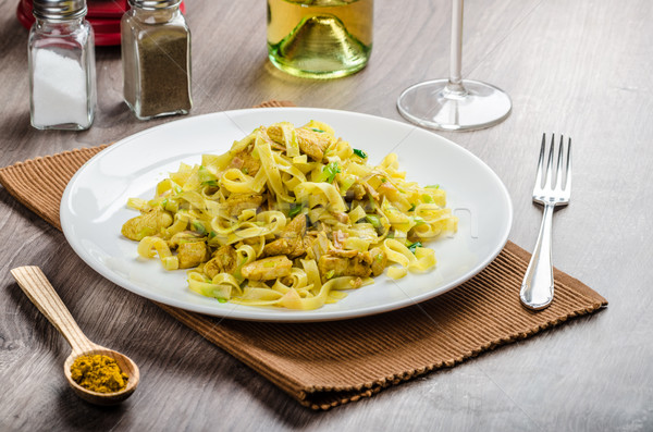 Tagliatelle with chicken curry, leek and garlic Stock photo © Peteer