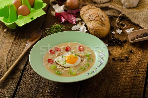 Hhomemade potato, bulls-eye fried egg Stock photo © Peteer