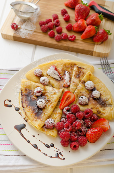 Stock photo: Pancakes with homemade balsamic reduction and fresh fruit