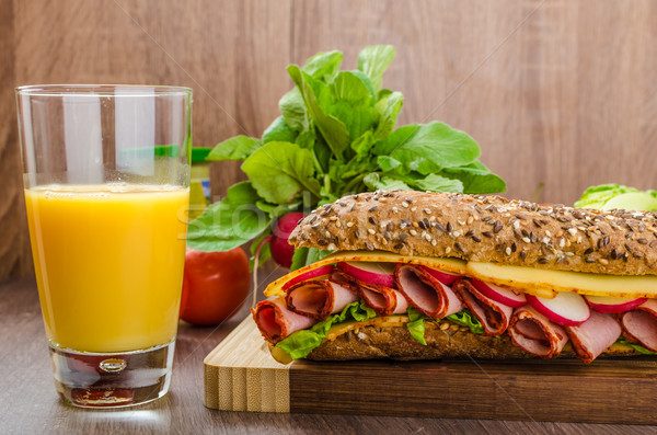 Stock photo: Wholemeal baguette with smoked rump