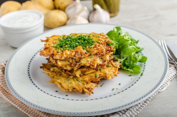 Tcheco batata frito panquecas original alho Foto stock © Peteer