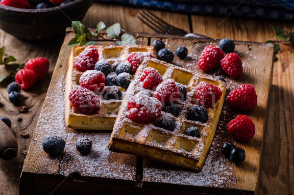 Waffles with berries Stock photo © Peteer