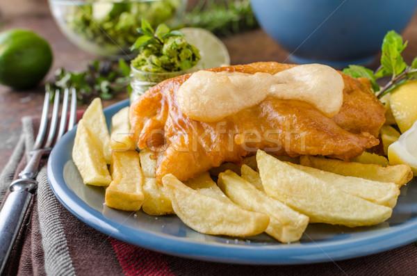 Hal sültkrumpli házi készítésű finom pesztó tányér Stock fotó © Peteer
