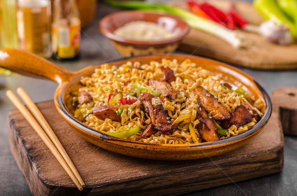 Chinese noodles with chicken Stock photo © Peteer