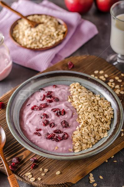 Blueberries oatmeat yogurt with crenberries Stock photo © Peteer