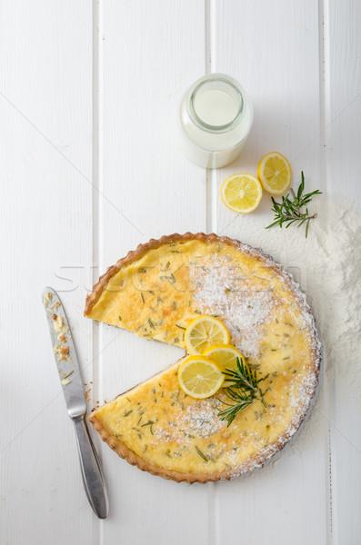 Stockfoto: Citroen · taart · rosmarijn · zoete · melk · vers