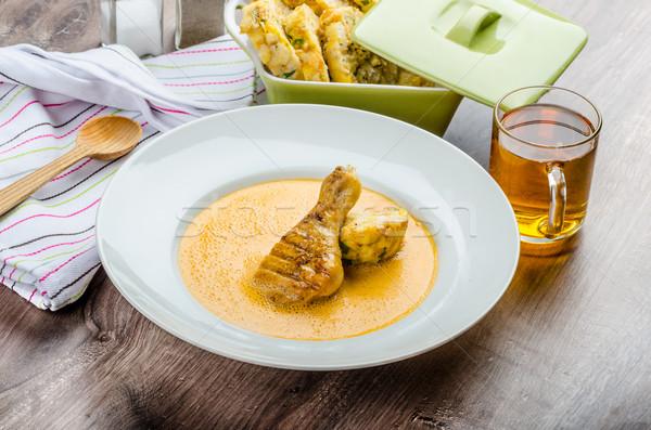 Stok fotoğraf: Tavuk · kırmızı · biber · sos · orijinal · Çek