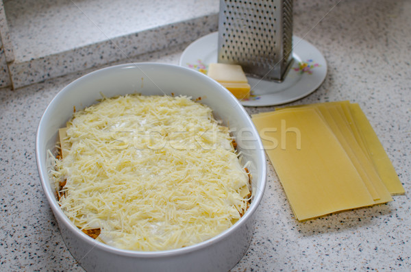 Lasagne bolognese preparation Stock photo © Peteer
