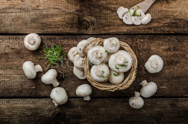 Champignons ruw vers bio eenvoudige product Stockfoto © Peteer