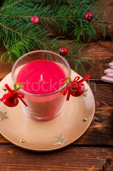 Christmas kaars pine naalden houten tafel hout Stockfoto © Peteer