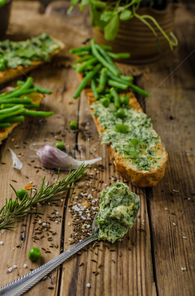Baguette with herb butter Stock photo © Peteer