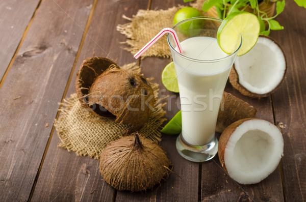 кокосовое молоко пить полный питание Витамины Сток-фото © Peteer