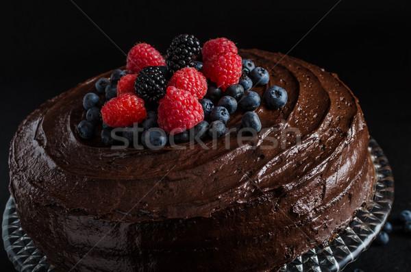 Bolo de chocolate três farinha comida festa fruto Foto stock © Peteer
