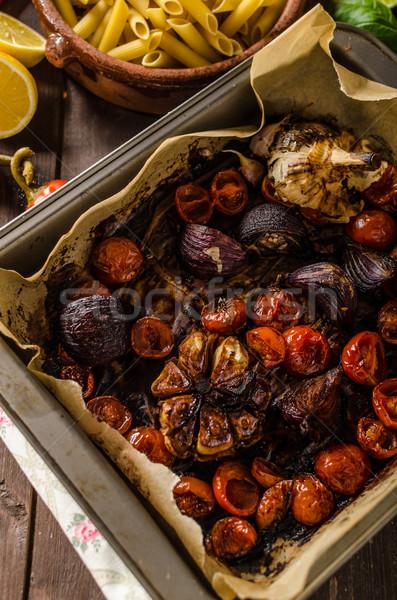 Vegetarisch gebakken groenten balsamico azijn bio organisch Stockfoto © Peteer
