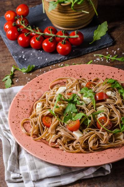 Stockfoto: Spaghetti · mozzarella · kerstomaatjes · eenvoudige · heerlijk · voedsel