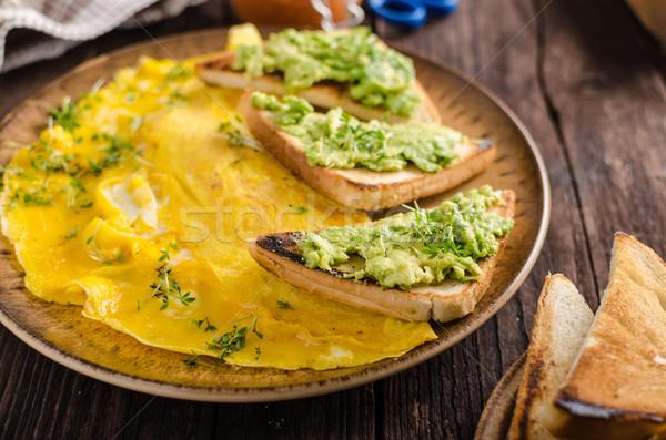卵 ニンニク アボカド トースト バイオ 卵 ストックフォト © Peteer