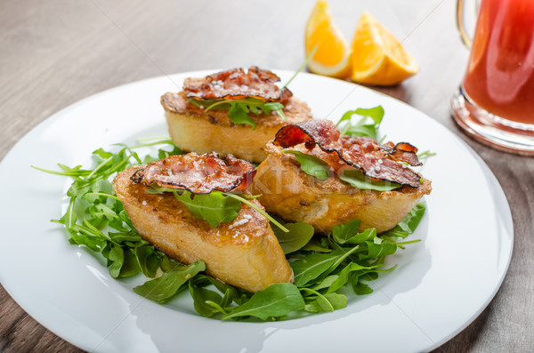 French toast with honey and bacon Stock photo © Peteer