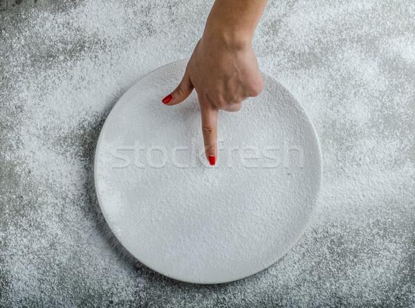 Tányér nő kéz tél idő fa Stock fotó © Peteer
