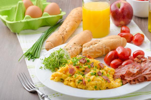 Roereieren spek tomaten vers sap weinig Stockfoto © Peteer