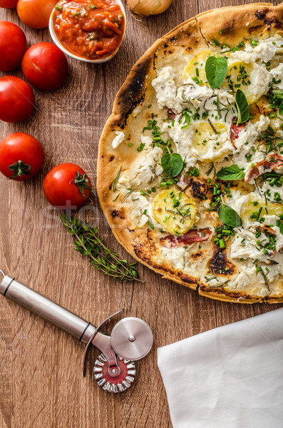 Pizza Bianco with Rosemary and Pancetta Stock photo © Peteer