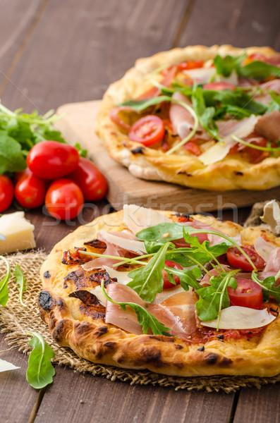 Сток-фото: итальянский · пиццы · сыр · пармезан · прошутто · небольшой