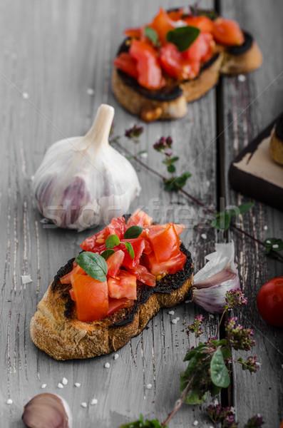 Bruschetta domates sarımsak otlar Çek lezzetli Stok fotoğraf © Peteer