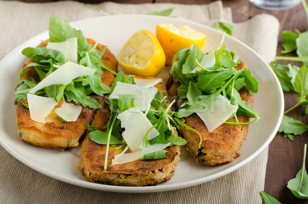 Fried breaded eggplant with salad Stock photo © Peteer