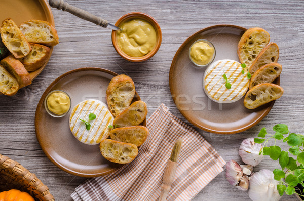 Grilled camembert with dijon mustard Stock photo © Peteer