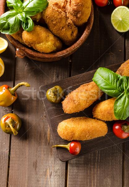 Foto stock: Caseiro · batata · queijo · pimenta · simples · comida
