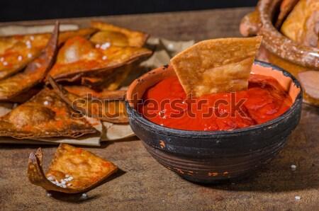 Házi készítésű nachos tortilla sült forró mártás Stock fotó © Peteer