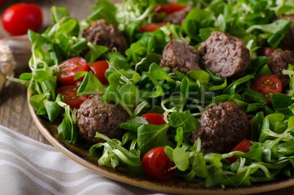 Albóndigas carne de vacuno frescos ensalada alimentos listo Foto stock © Peteer