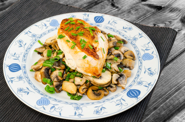 chicken breast with mushrooms and spring onions Stock photo © Peteer