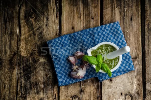 Pesto albahaca original milán casa simple Foto stock © Peteer