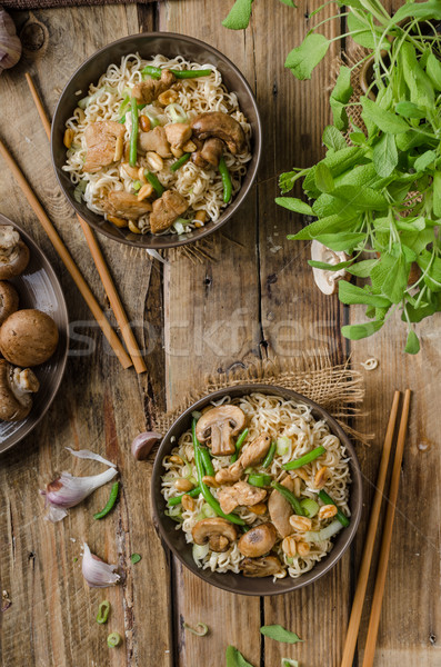 Chinese noodles with brown mushrooms Stock photo © Peteer