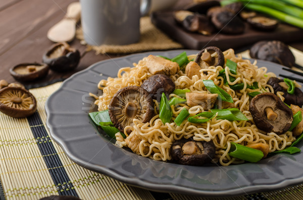 Chinese noodles with chicken and shitake Stock photo © Peteer