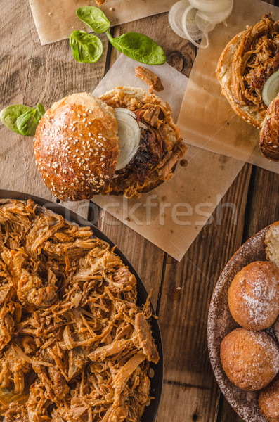 Barbecue pulled pork burger Stock photo © Peteer