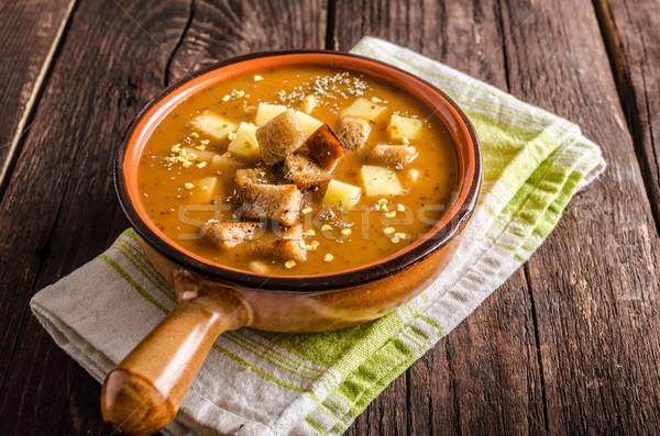 Sopa patatas alimentos fotografía madera fondo Foto stock © Peteer