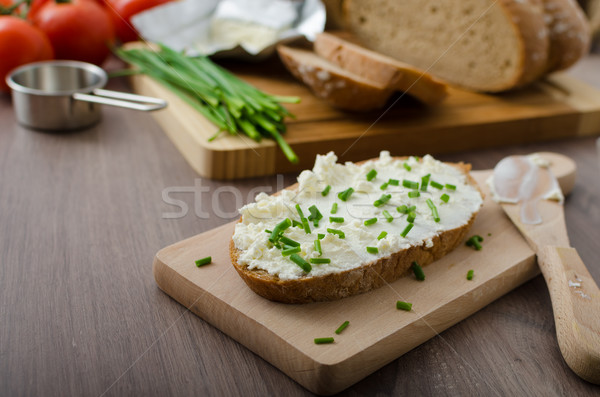 Saludable desayuno casero cerveza pan queso Foto stock © Peteer
