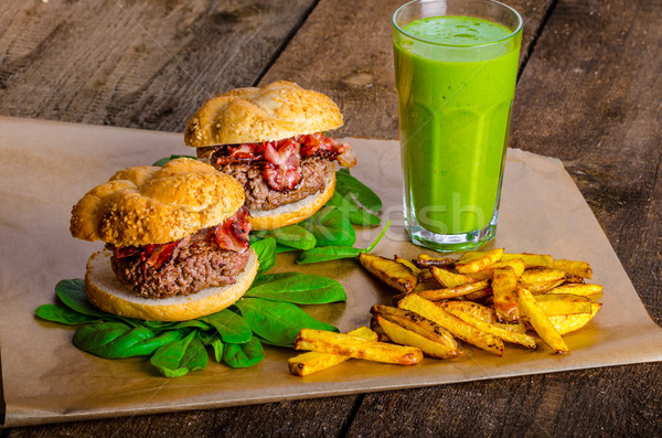 Bacon burger with chilli fries and herbs banana smoothie Stock photo © Peteer