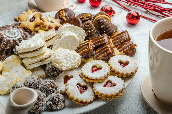 Christmas cookies and fresh tea Stock photo © Peteer