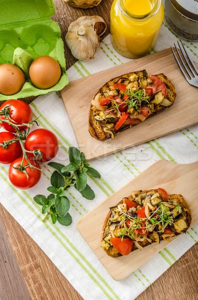 Stok fotoğraf: Yemek · temizlemek · vejetaryen · tost · sebze · sağlıklı
