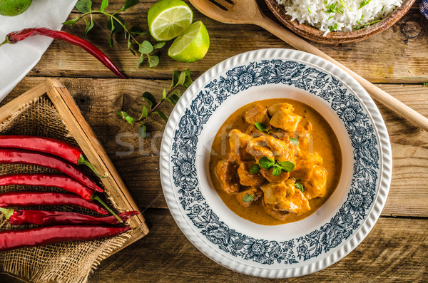 Curry chicken with rice Stock photo © Peteer