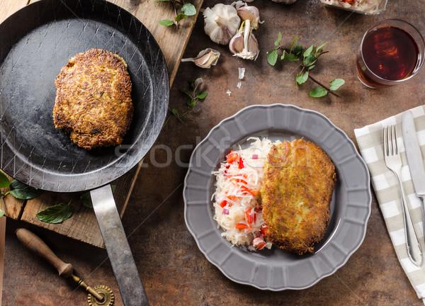 Krumpli palacsinták káposztasaláta hely torta arany Stock fotó © Peteer