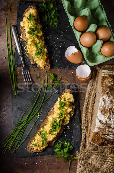 Rántotta gyógynövények kenyér zöld sajt tojások Stock fotó © Peteer